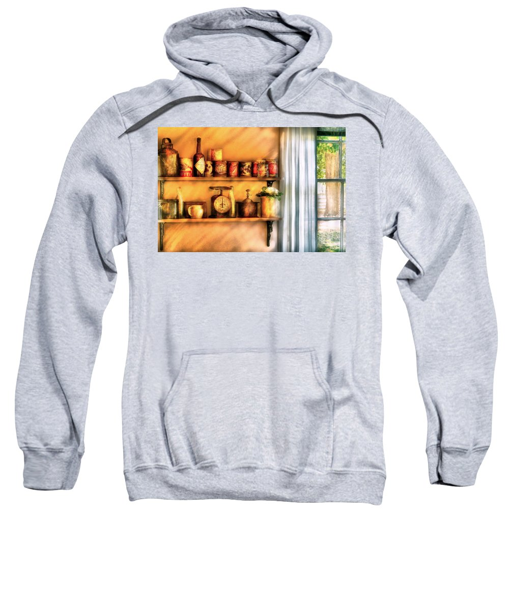 Savad Sweatshirt featuring the digital art Jars - Kitchen Shelves by Mike Savad