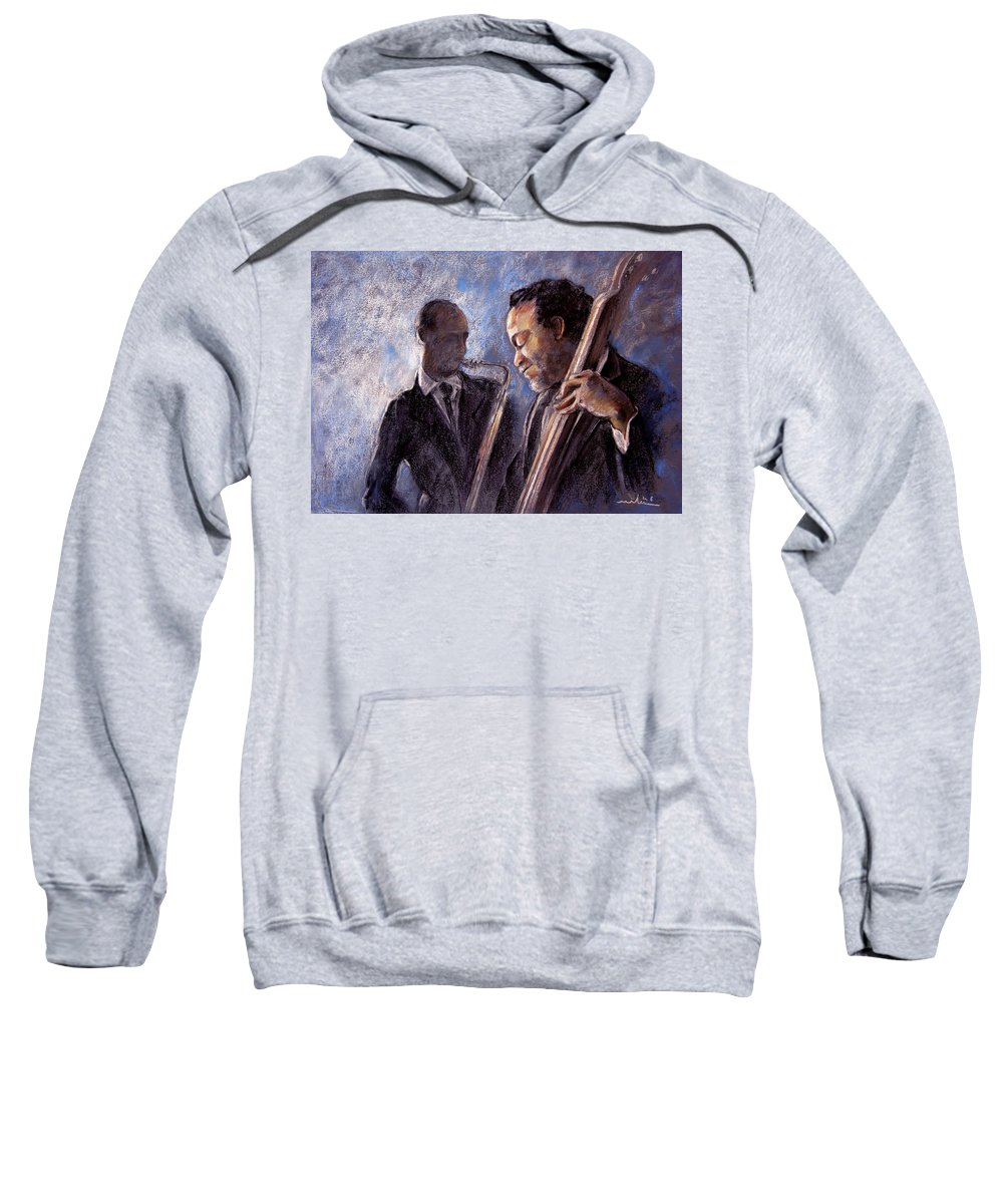 Jazz Sweatshirt featuring the painting Jazz 02 by Miki De Goodaboom