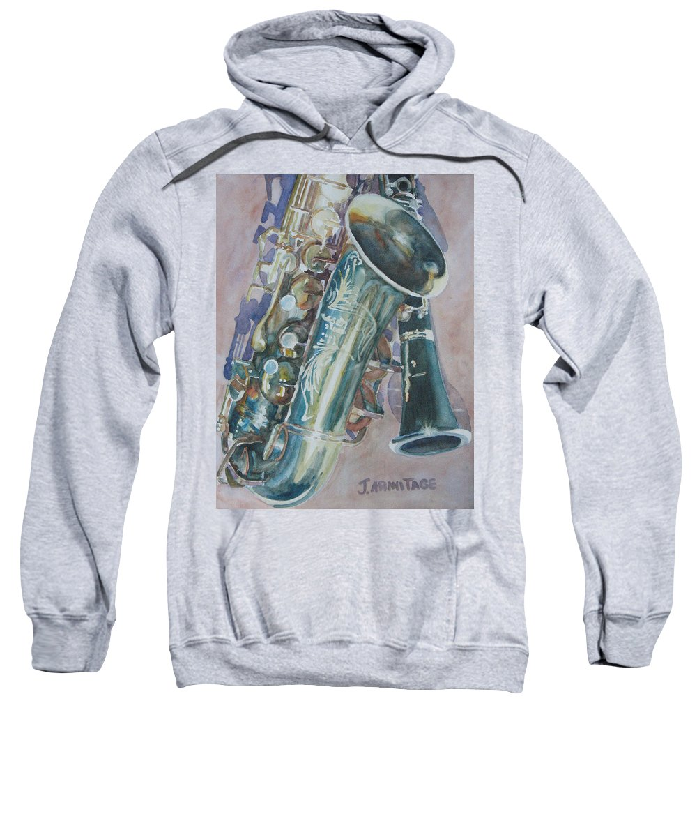 Sax Sweatshirt featuring the painting Jazz Buddies by Jenny Armitage