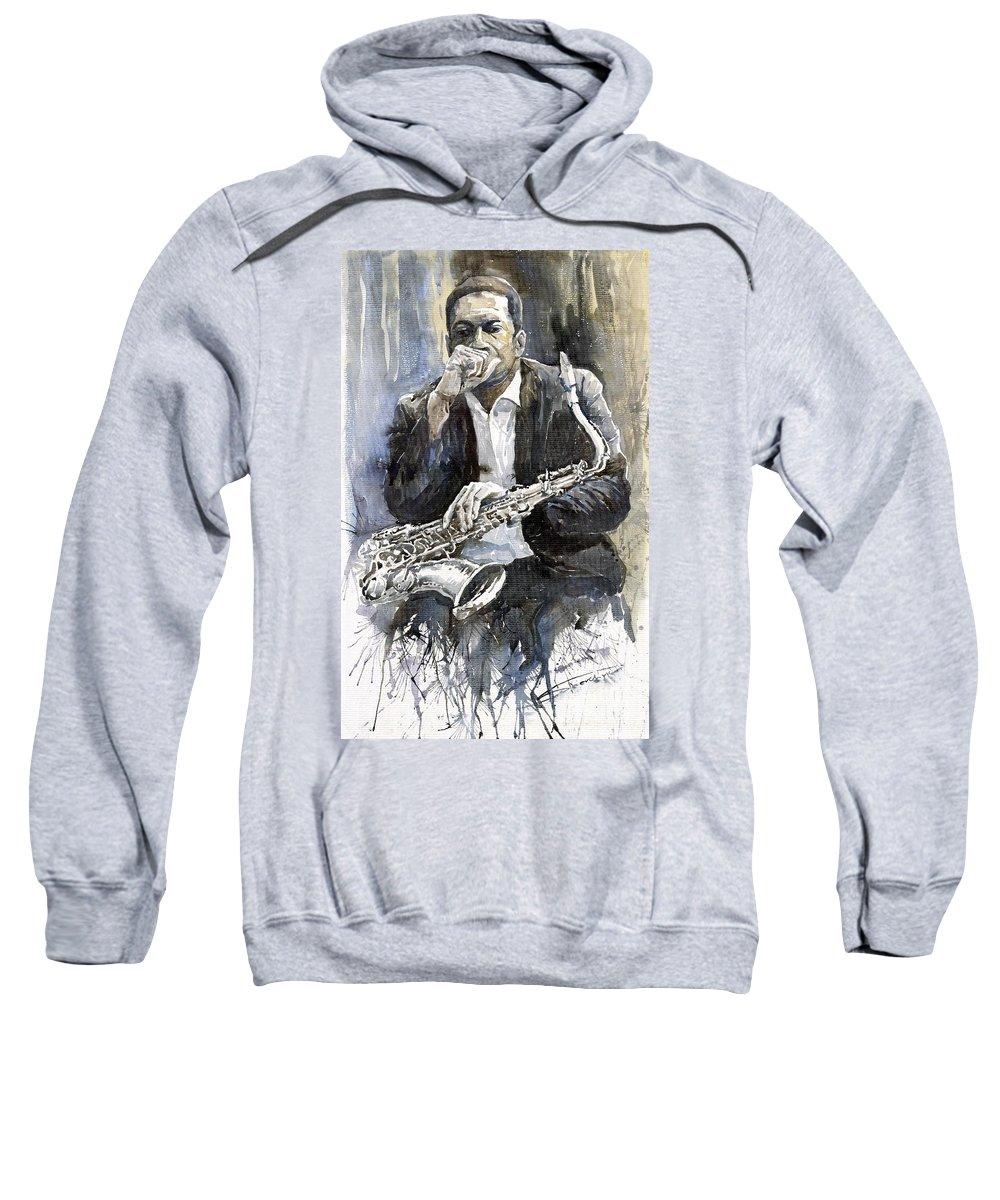 Jazz Sweatshirt featuring the painting Jazz Saxophonist John Coltrane Yellow by Yuriy Shevchuk