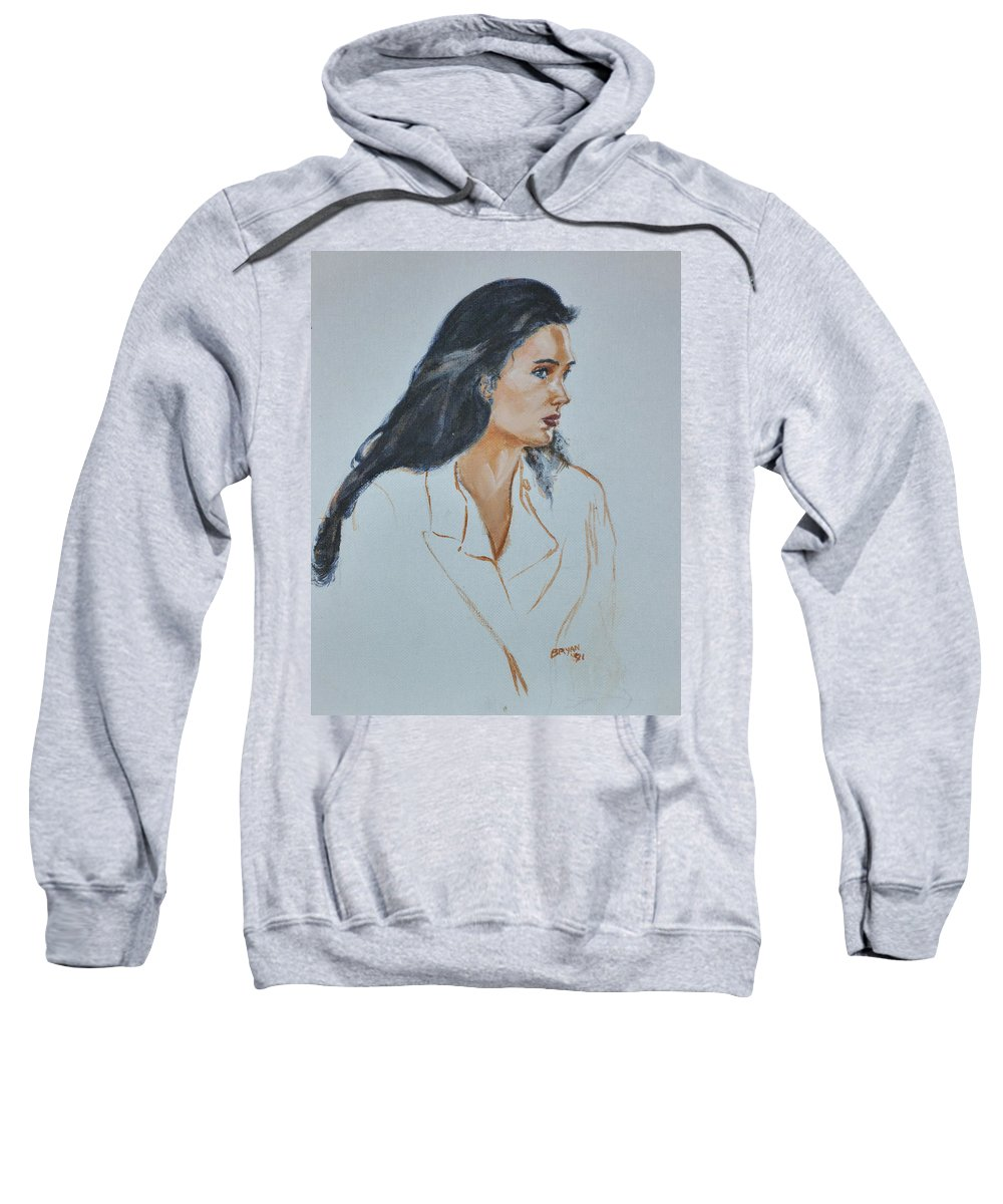 Jennifer Connelly Sweatshirt featuring the painting Jennifer Connelly by Bryan Bustard