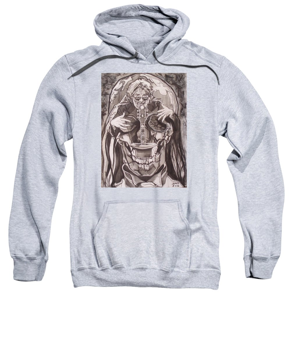 Charcoal Sweatshirt featuring the drawing Jerry Garcia . . Magic Is What We Do - Music Is How We Do It by Sean Connolly
