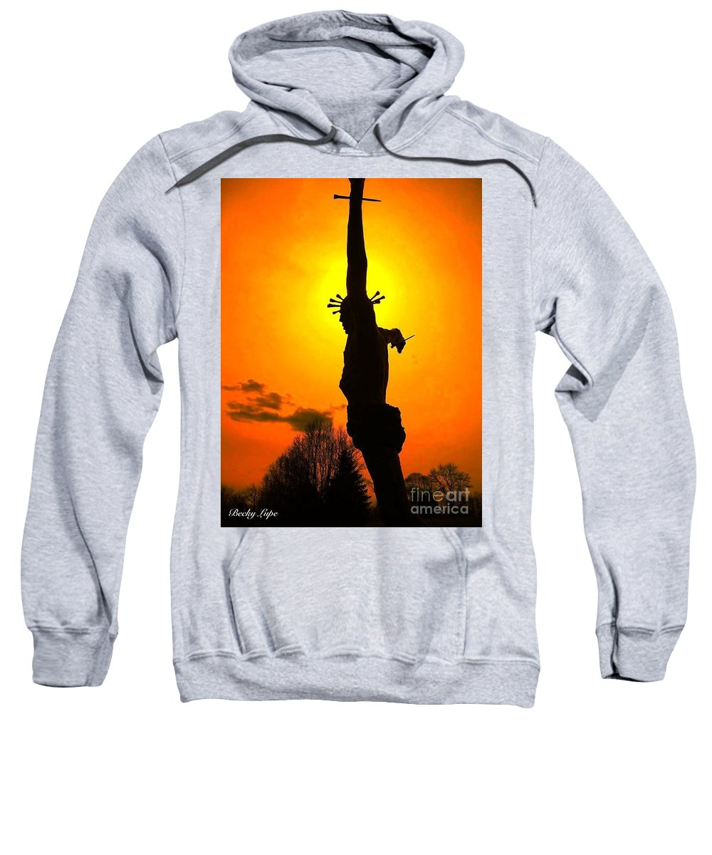 Religious Greeting Card Sweatshirt featuring the photograph Jesus In Sunset 1 Hope by Becky Lupe