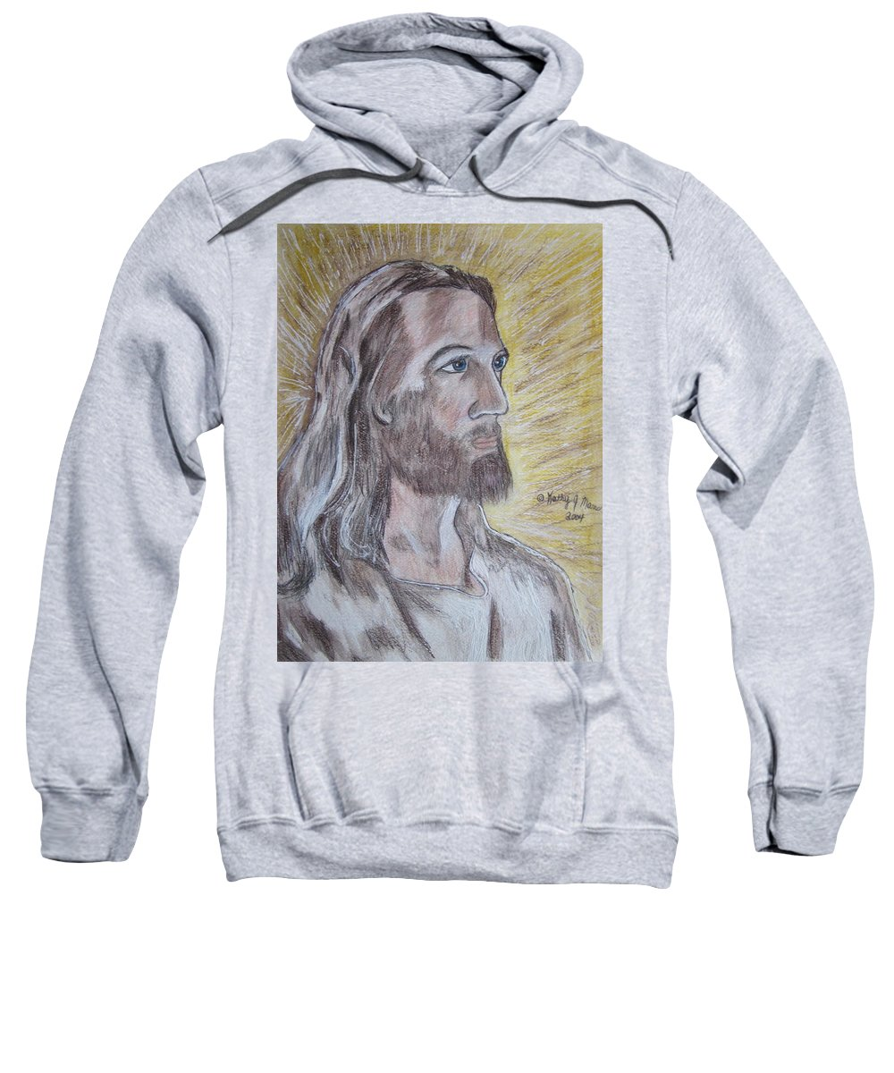 Jesus Sweatshirt featuring the painting Jesus by Kathy Marrs Chandler