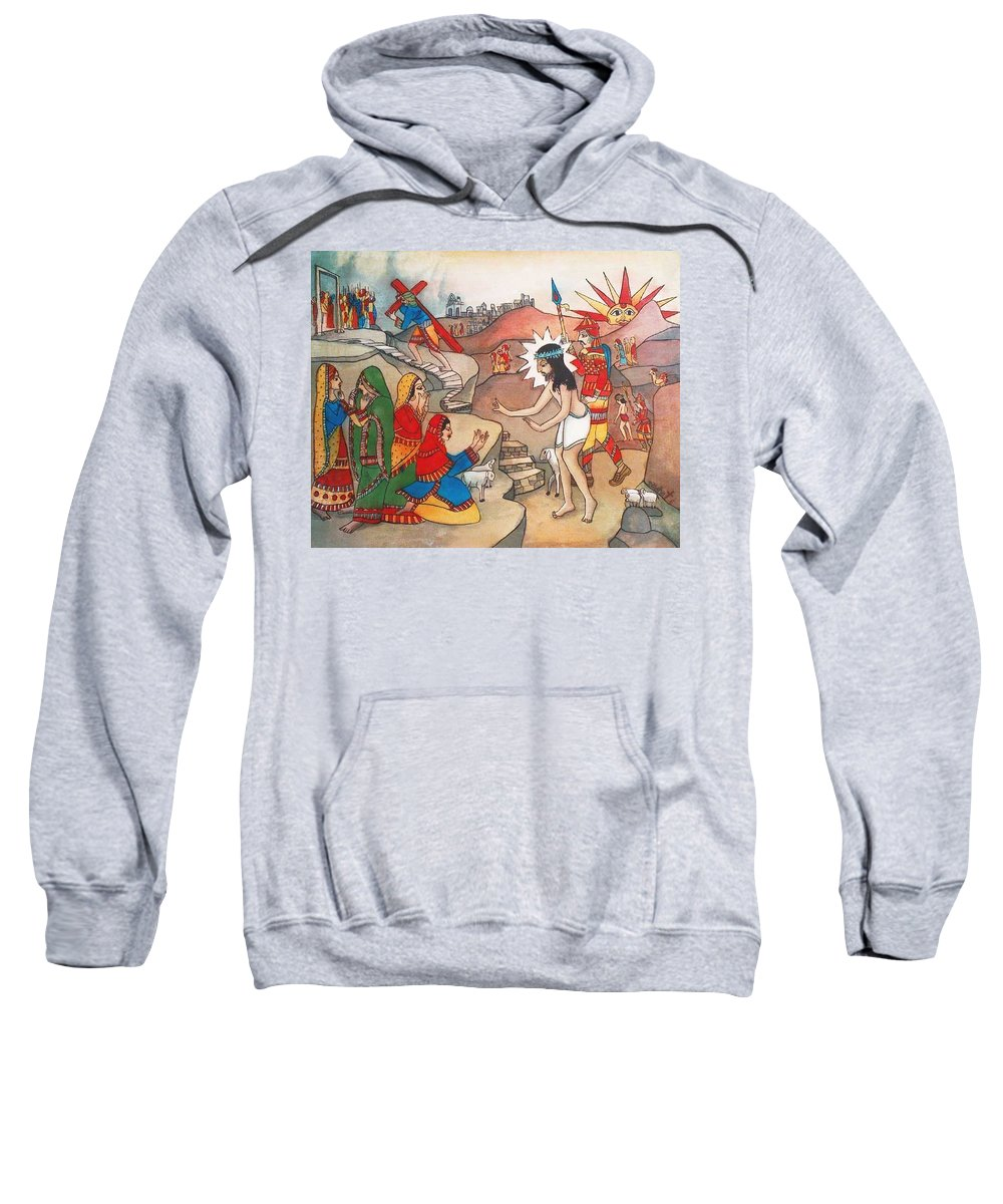 Indian Art Sweatshirt featuring the painting Jesusaway by Bhanu Dudhat