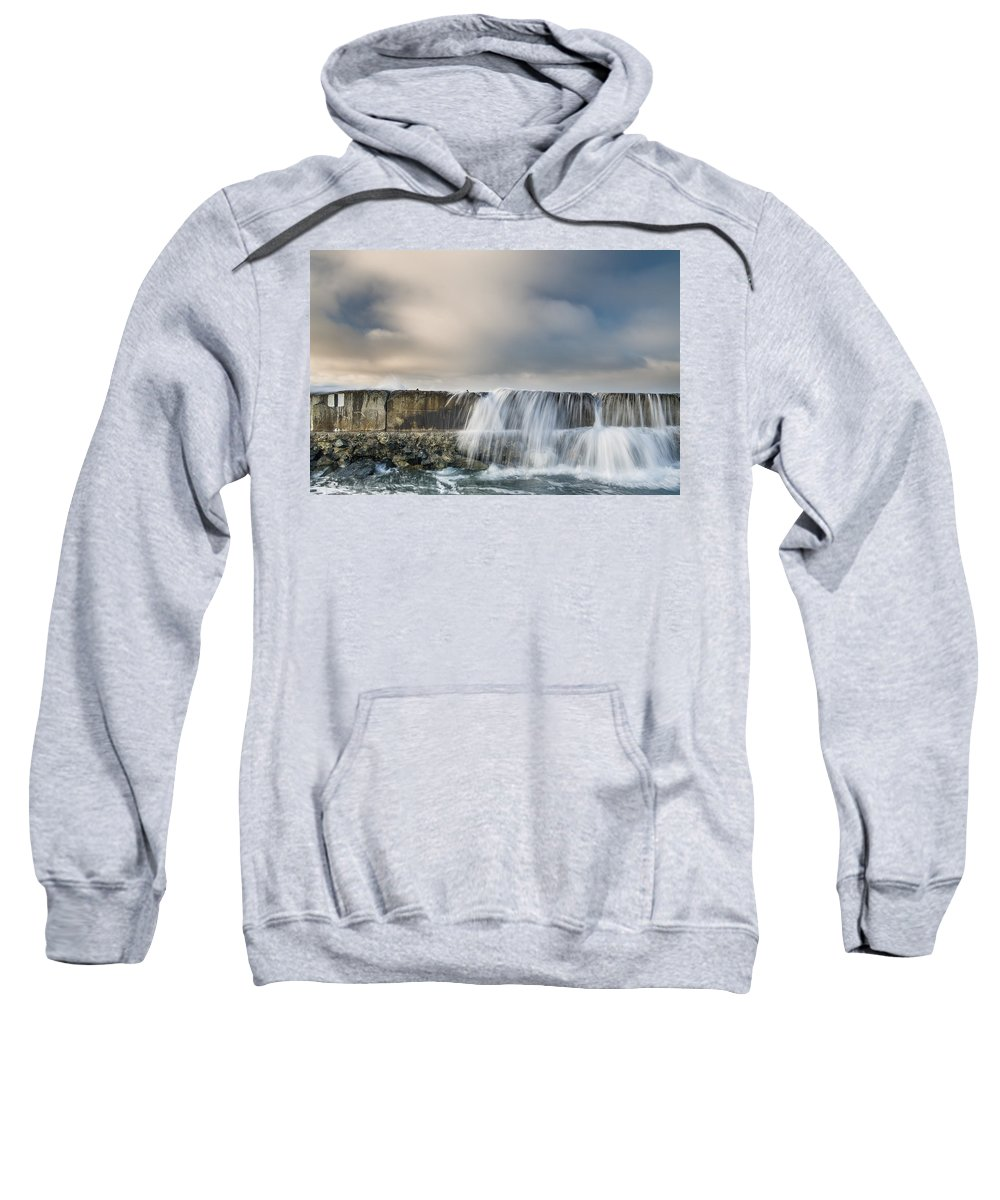 Humboldt Bay Sweatshirt featuring the photograph Jetty Spillover Waterfall by Greg Nyquist