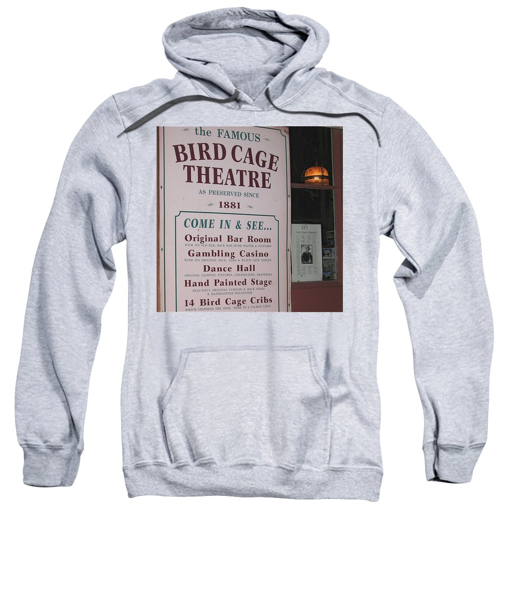 John Wayne's Filmography Bird Cage Theater Tombstone Az Mclintock Sweatshirt featuring the photograph John Wayne's Filmography Bird Cage Theater Tombstone Az 2004 by David Lee Guss