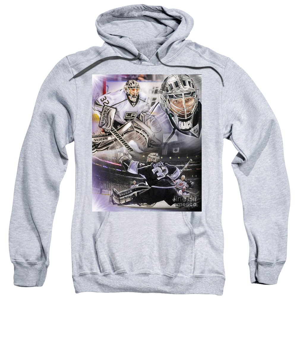 Jonathan Quick Sweatshirt featuring the painting Jonathan Quick Collage by Mike Oulton