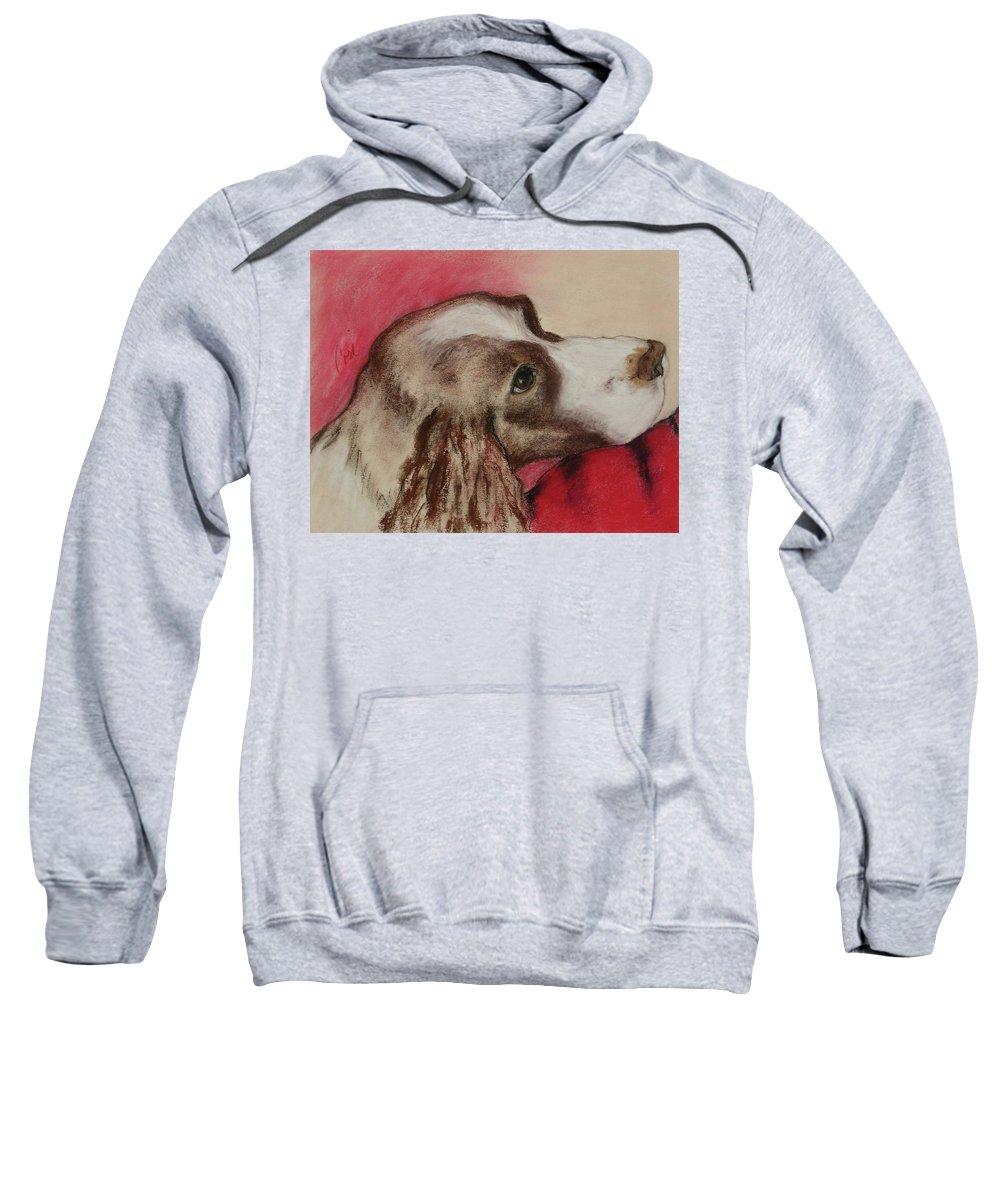 Springer Spaniel Sweatshirt featuring the drawing Jourdan by Cori Solomon