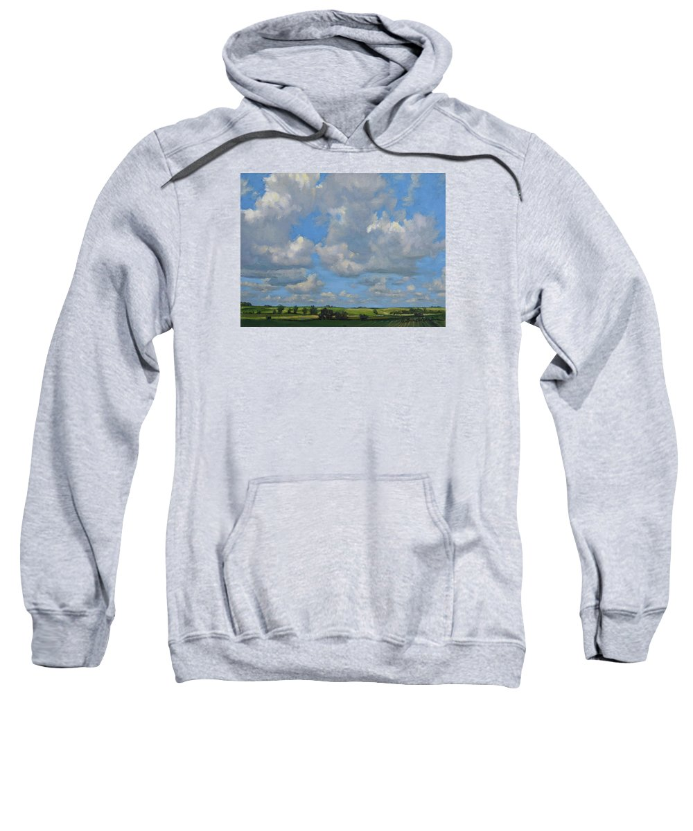 Summer Landscape Sweatshirt featuring the painting July In The Valley by Bruce Morrison
