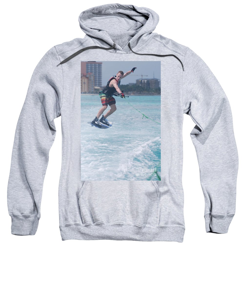 Wakeboarding Sweatshirt featuring the photograph Jumping Wakeboarder by DejaVu Designs