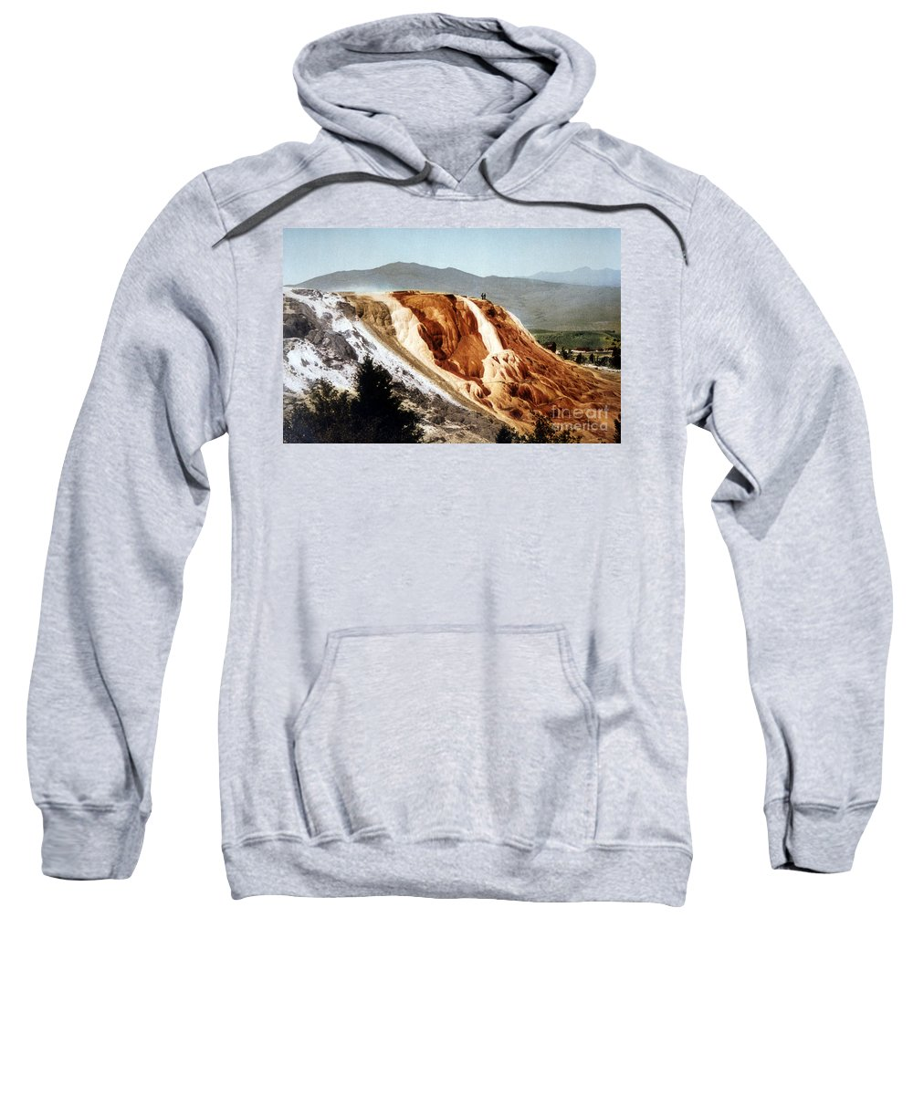 Jupiter Terrace Sweatshirt featuring the photograph Jupiter Terrace Yellowstone National Park by NPS Photo Detroit Photographic Co