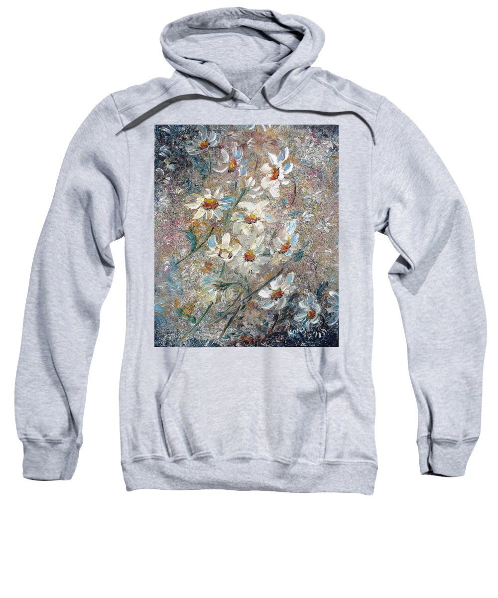 Daisies Painting Abstract Flower Painting Botanical Painting Bloom Greeting Card Painting Sweatshirt featuring the painting Just Dasies by Karin Dawn Kelshall- Best