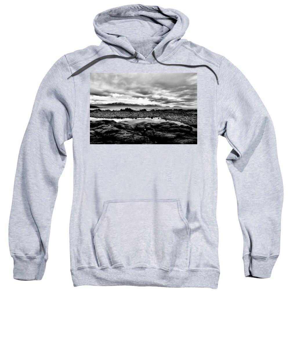 Kaikoura Coast Sweatshirt featuring the photograph Kaikoura Coast New Zealand In Black And White by Amanda Stadther