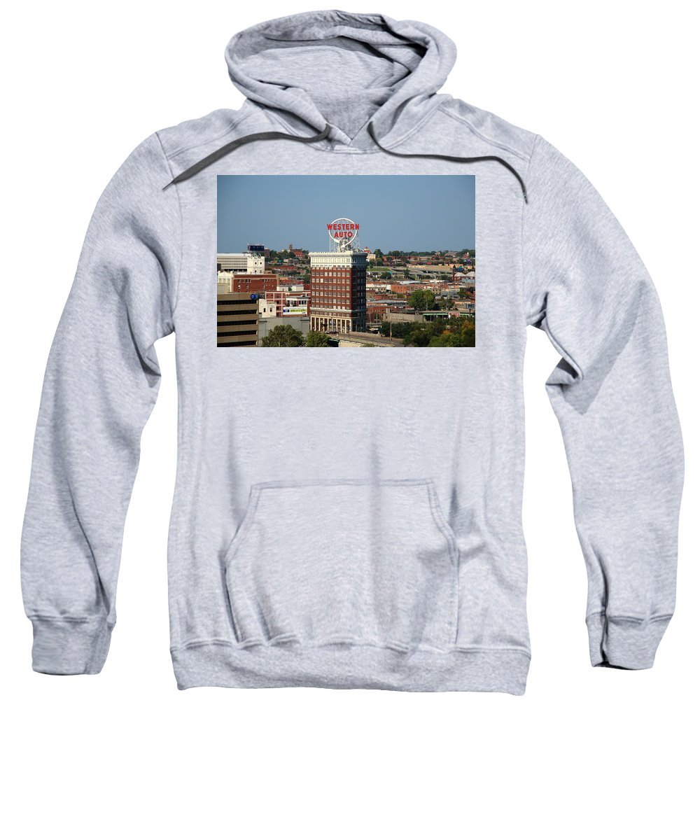America Sweatshirt featuring the photograph Kansas City - Western Auto Building by Frank Romeo