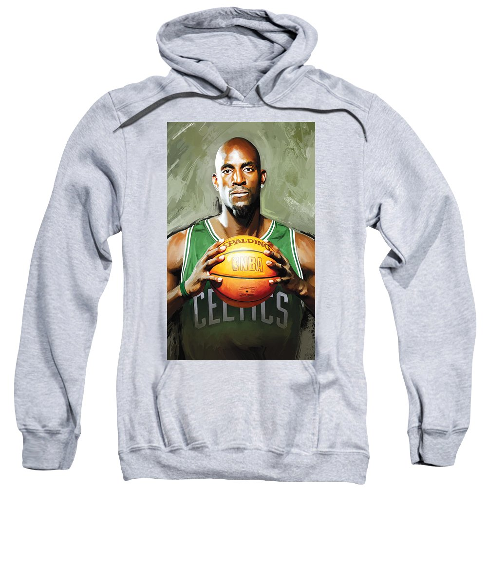 Kevin Garnett Sweatshirt featuring the painting Kevin Garnett Artwork 2 by Sheraz A