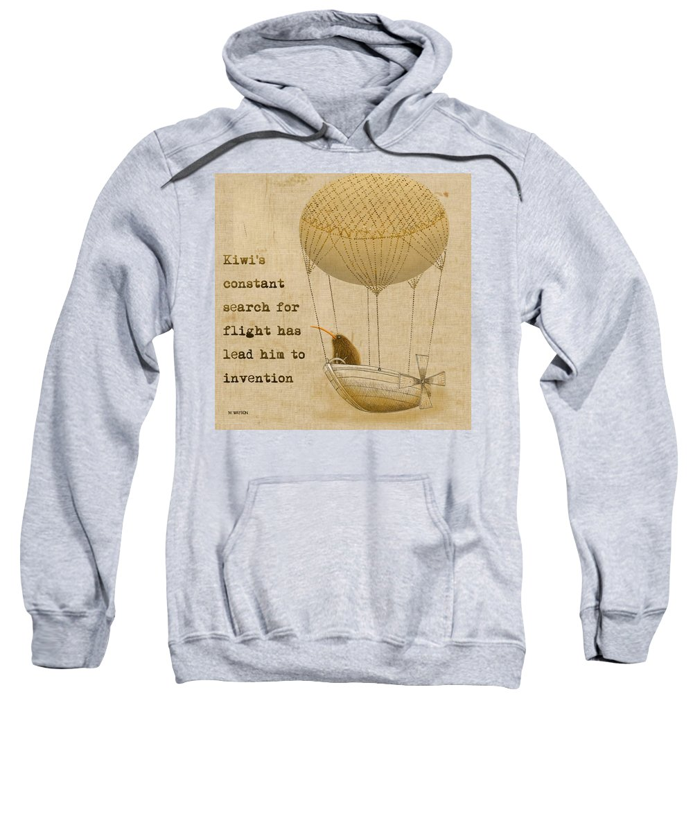 Kiwi Sweatshirt featuring the digital art Kevs Invention by Marlene Watson