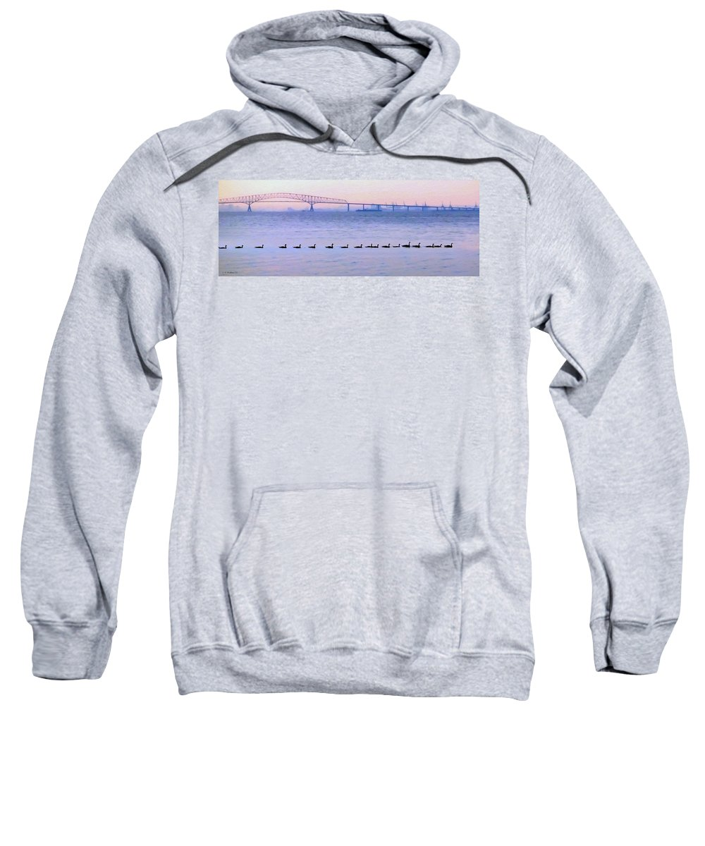 2d Sweatshirt featuring the photograph Key Bridge And Waterfowl by Brian Wallace