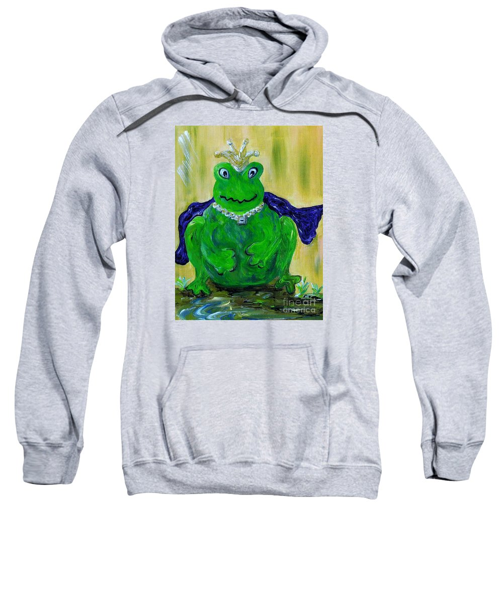 Frog Sweatshirt featuring the painting King For A Day by Eloise Schneider