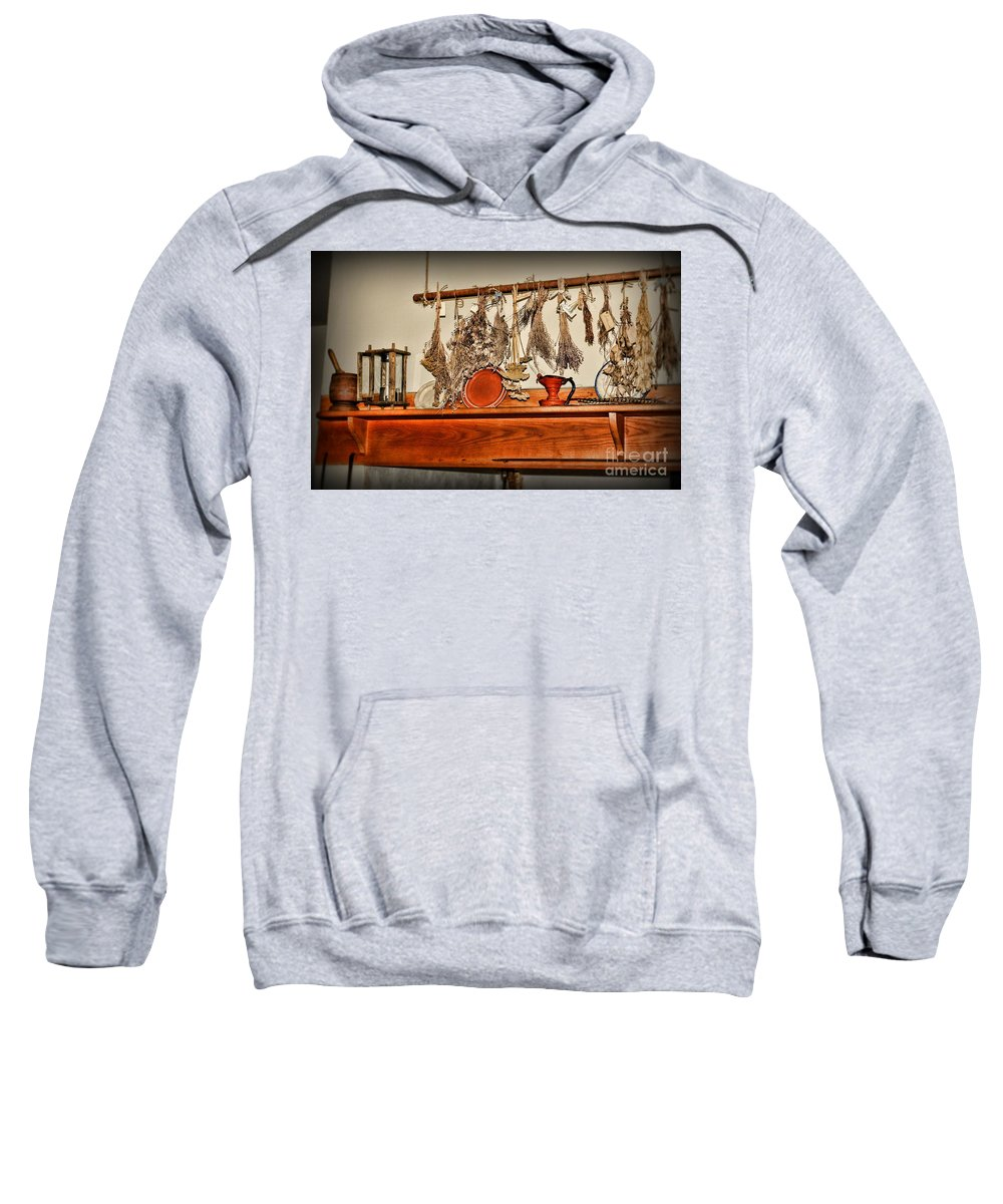 Paul Ward Sweatshirt featuring the photograph Kitchen - Herbs Drying Over The Mantel by Paul Ward