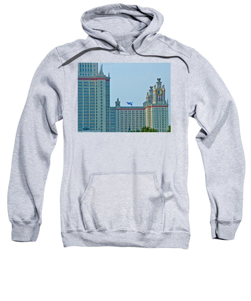 Kite Over Moscow University In Moscow Sweatshirt featuring the photograph Kite Over Moscow University In Moscow-russia by Ruth Hager