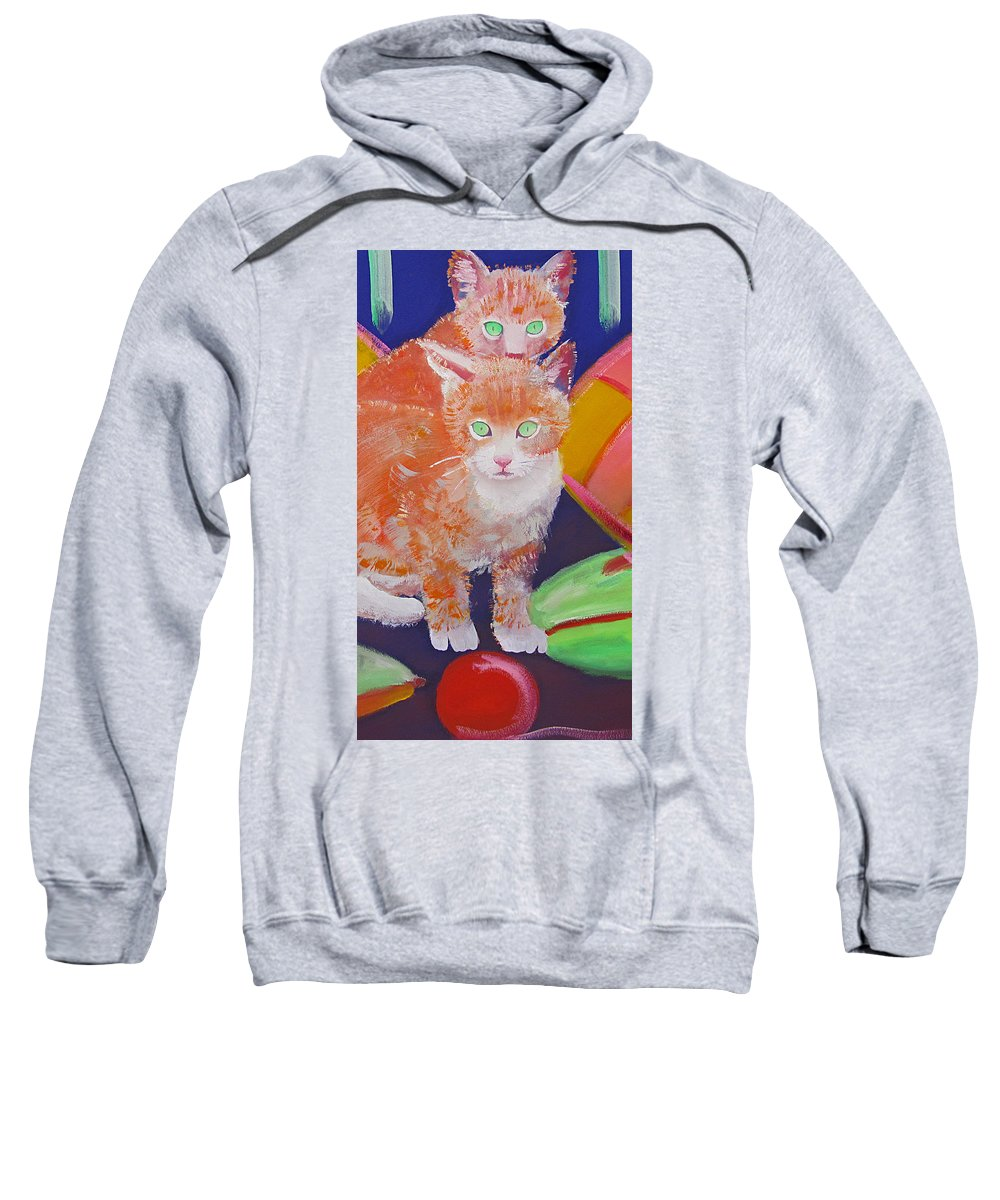 Kittens Sweatshirt featuring the painting kittens With A Ball of Wool by Charles Stuart