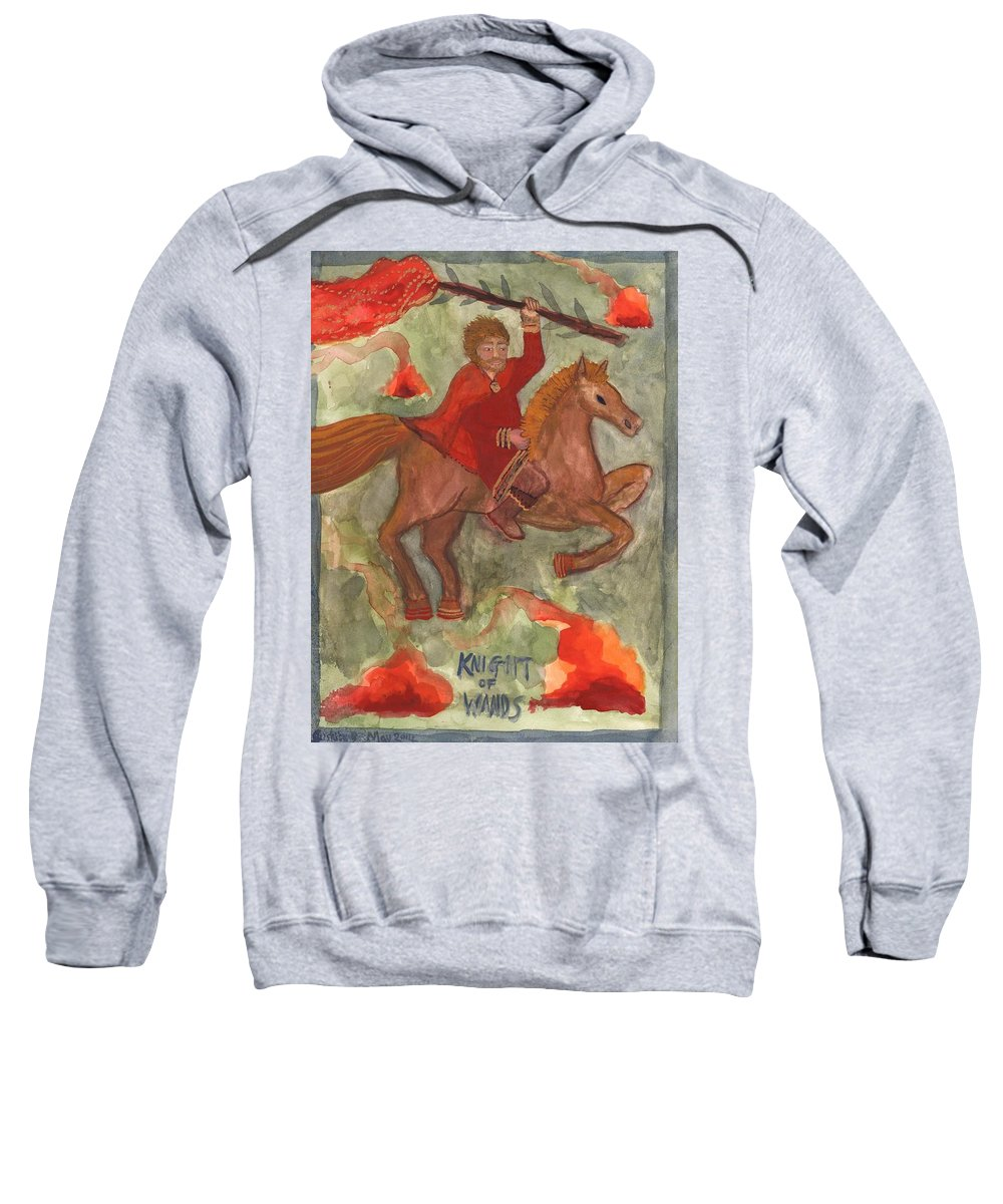 Tarot Sweatshirt featuring the painting Knight Of Wands by Sushila Burgess