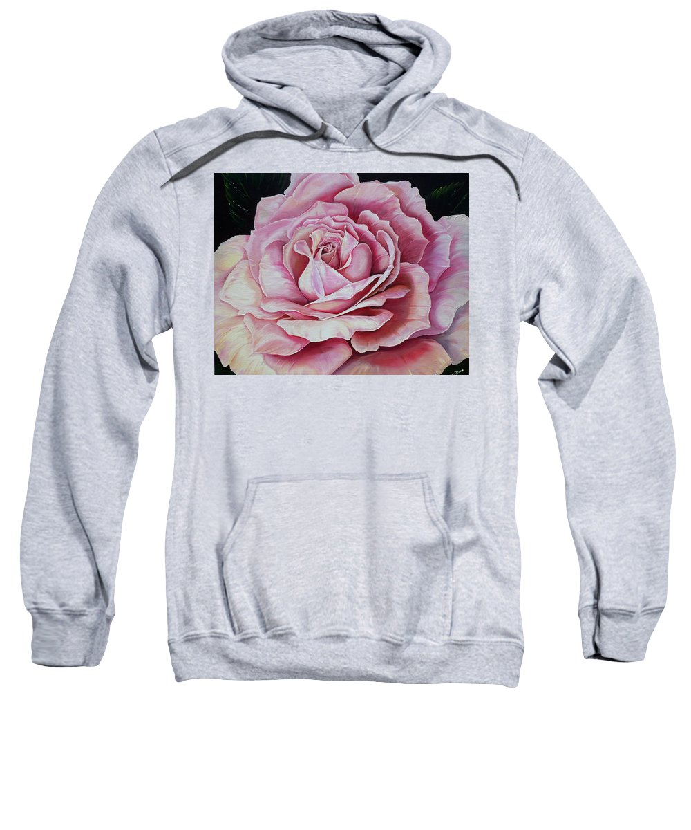 Rose Painting Pink Rose Painting  Floral Painting Flower Painting Botanical Painting Greeting Card Painting Sweatshirt featuring the painting La Bella Rosa by Karin Dawn Kelshall- Best