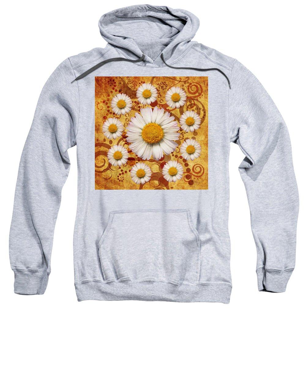 Marguerites Sweatshirt featuring the digital art La Ronde Des Marguerites 0101a by Variance Collections