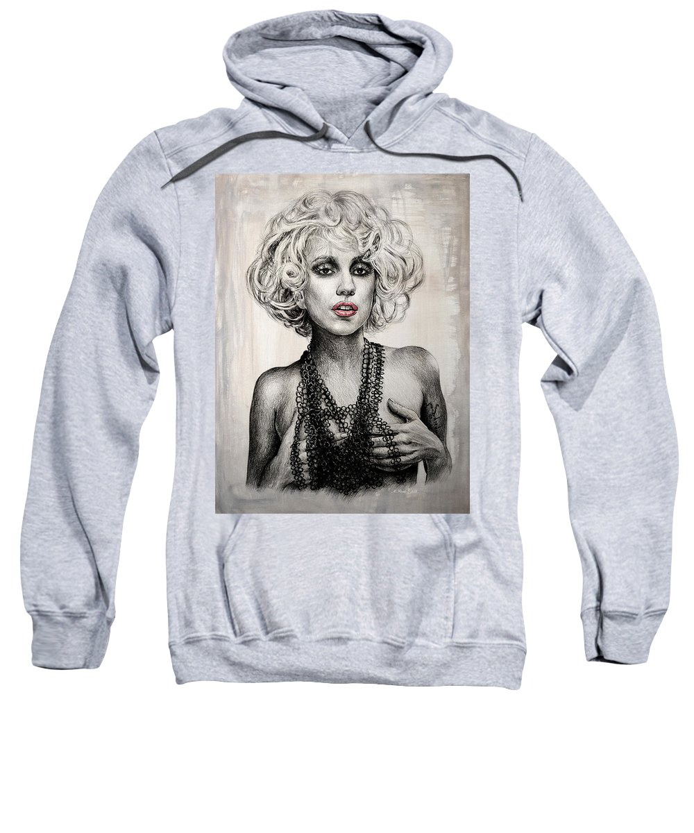 Lady Gaga Sweatshirt featuring the drawing Lady Gaga by Andrew Read