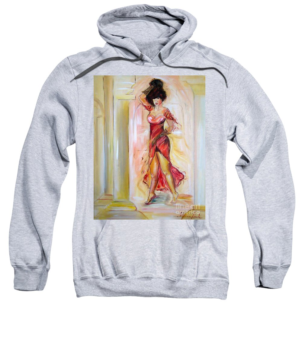 Contemporary Art Sweatshirt featuring the painting Lady In Red by Silvana Abel