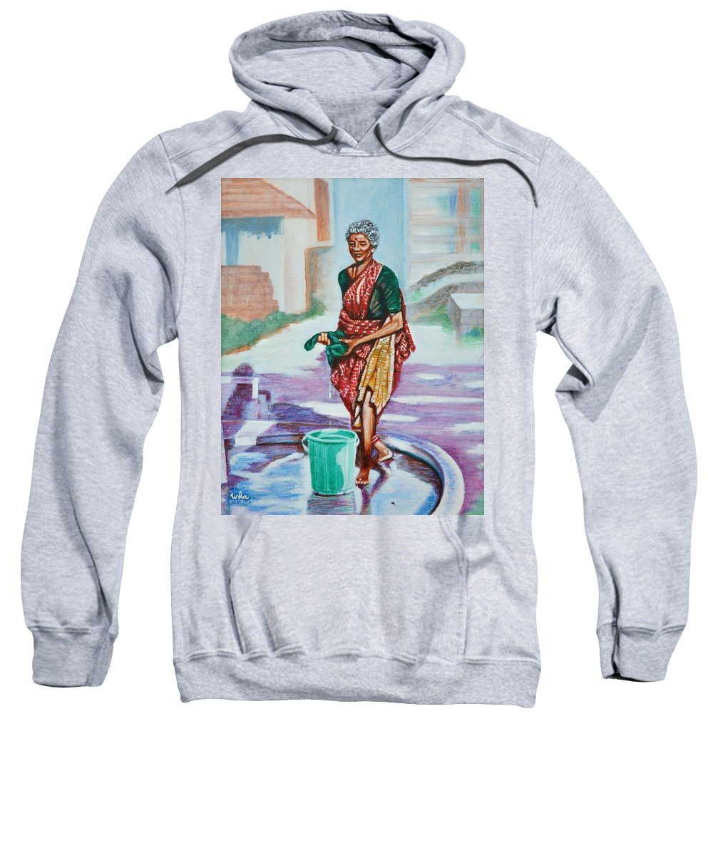 Lady Sweatshirt featuring the painting Lady Washing Clothes by Usha Shantharam