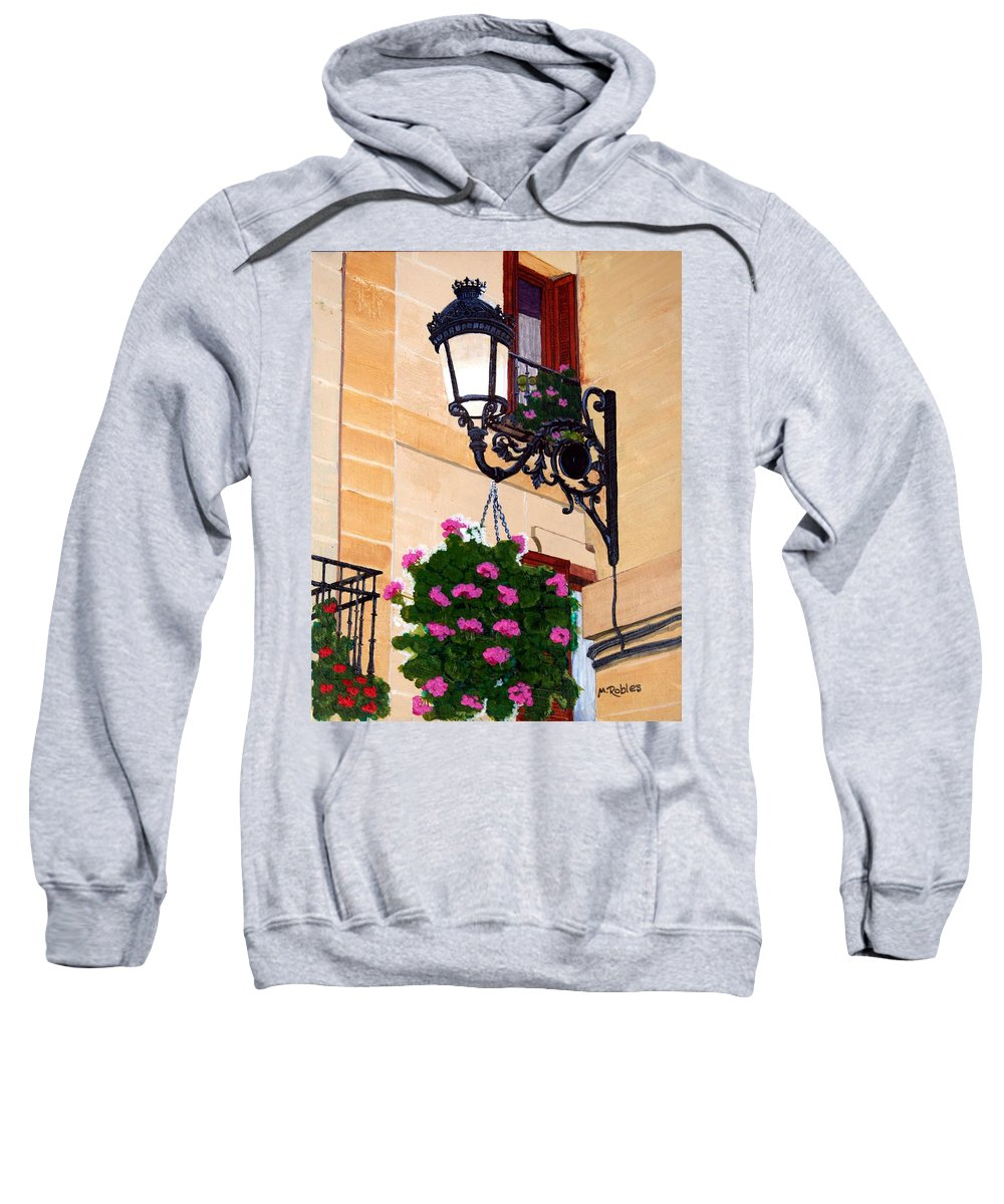 Street Lamp Sweatshirt featuring the painting Laguardia Street Lamp by Mike Robles