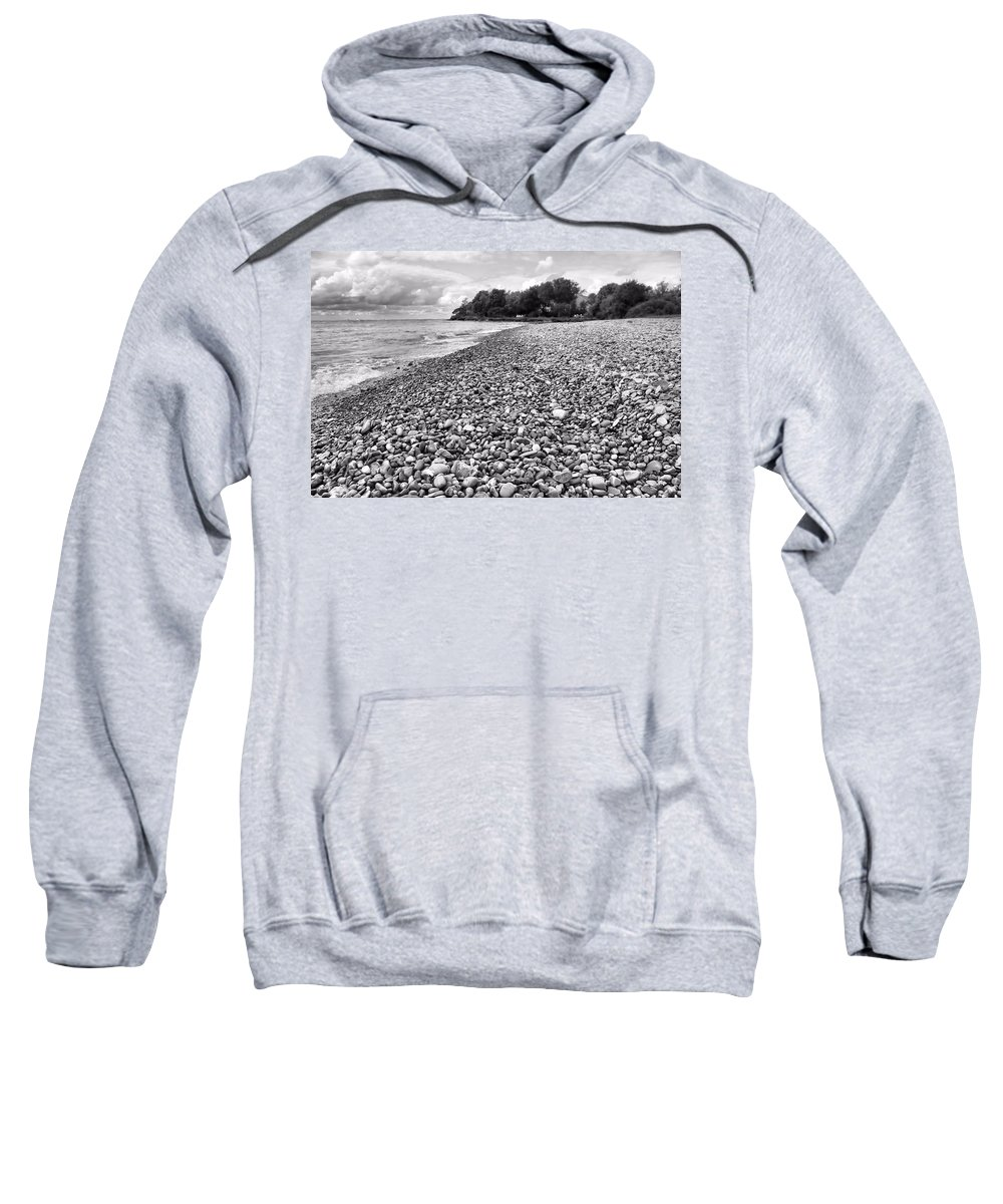 Lake Erie Coast Black And White Sweatshirt featuring the photograph Lake Erie Coast Black And White by Dan Sproul