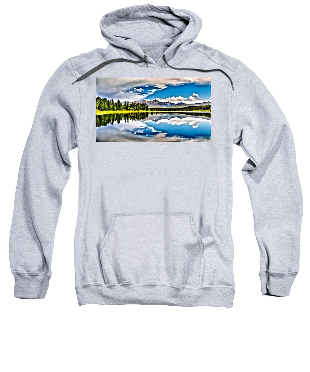 Lake Sweatshirt featuring the painting Lake In The Mountains by Florian Rodarte