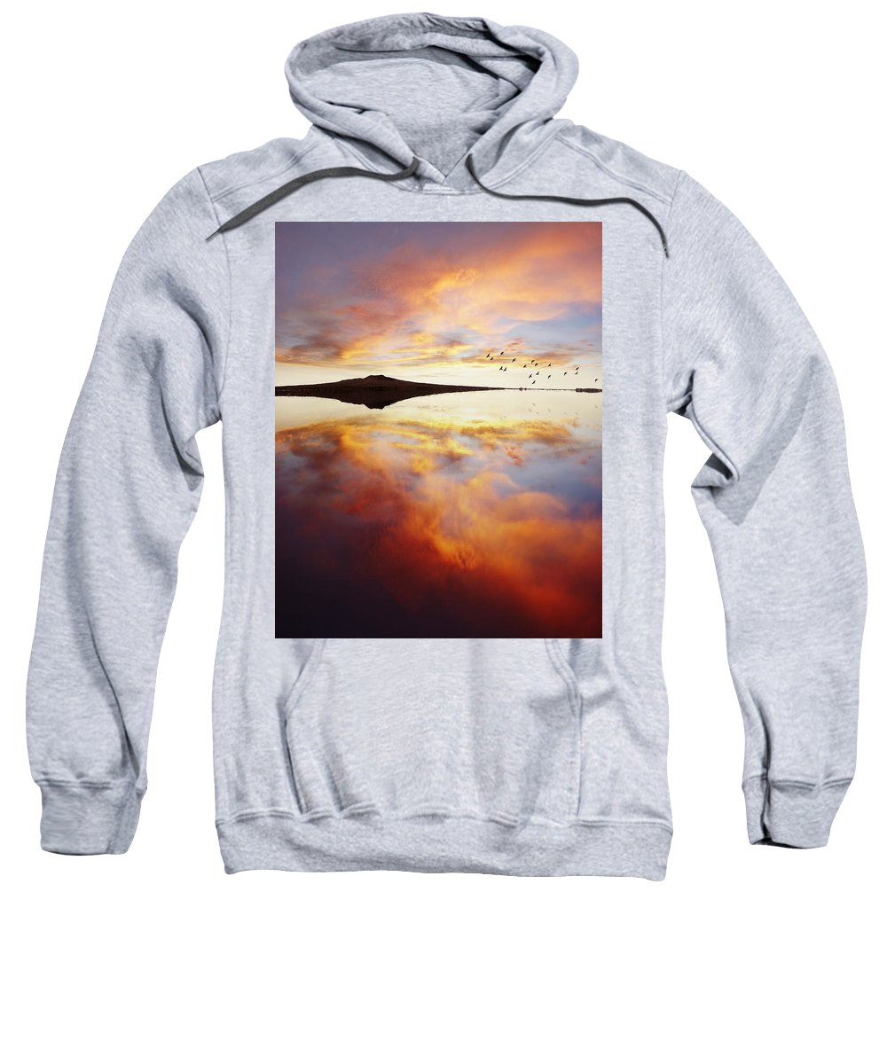 Nobody Sweatshirt featuring the photograph Lake Reflections by Les Cunliffe