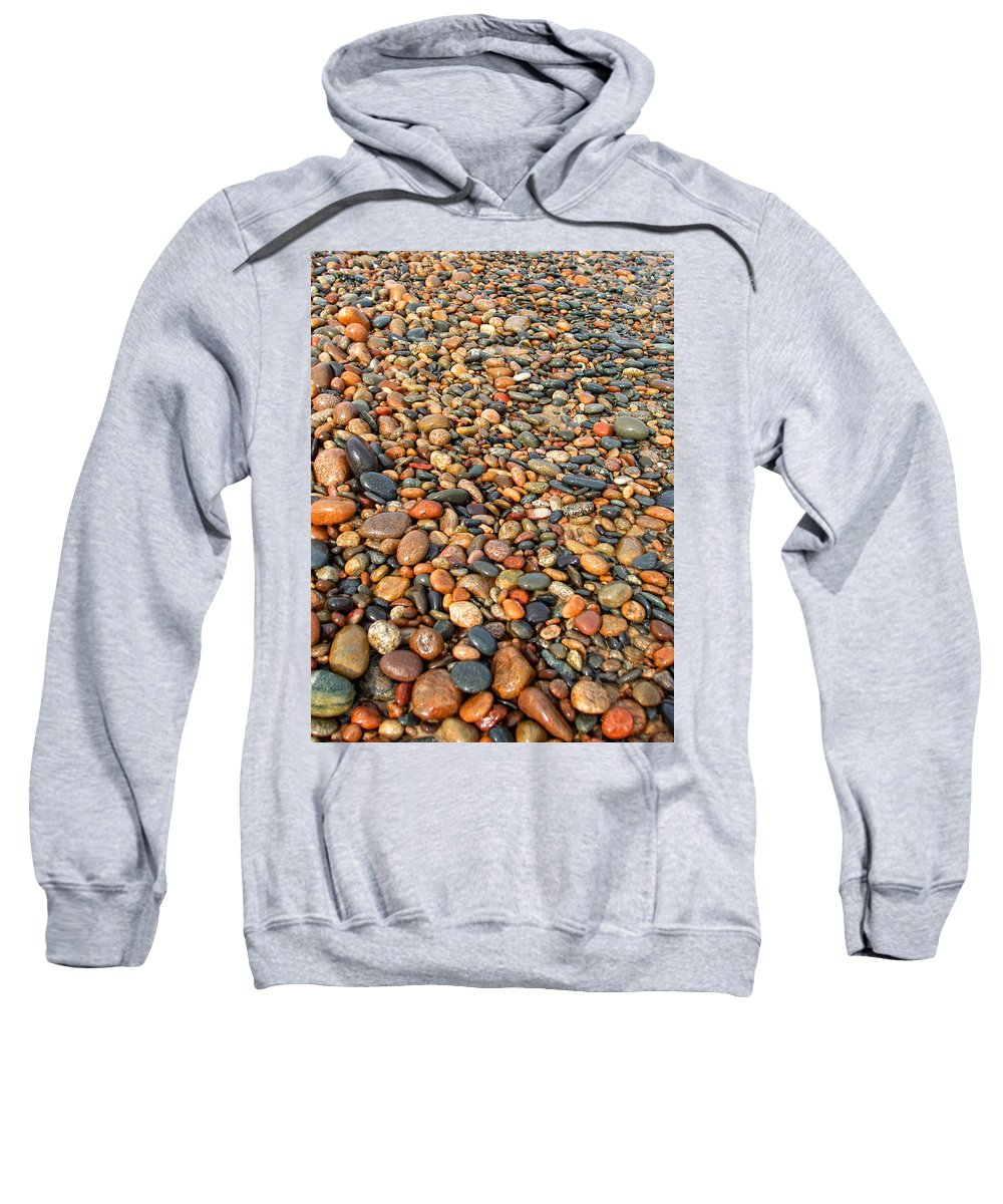 Lake Superior Sweatshirt featuring the photograph Lake Superior Stones 1 by Kathryn Lund Johnson