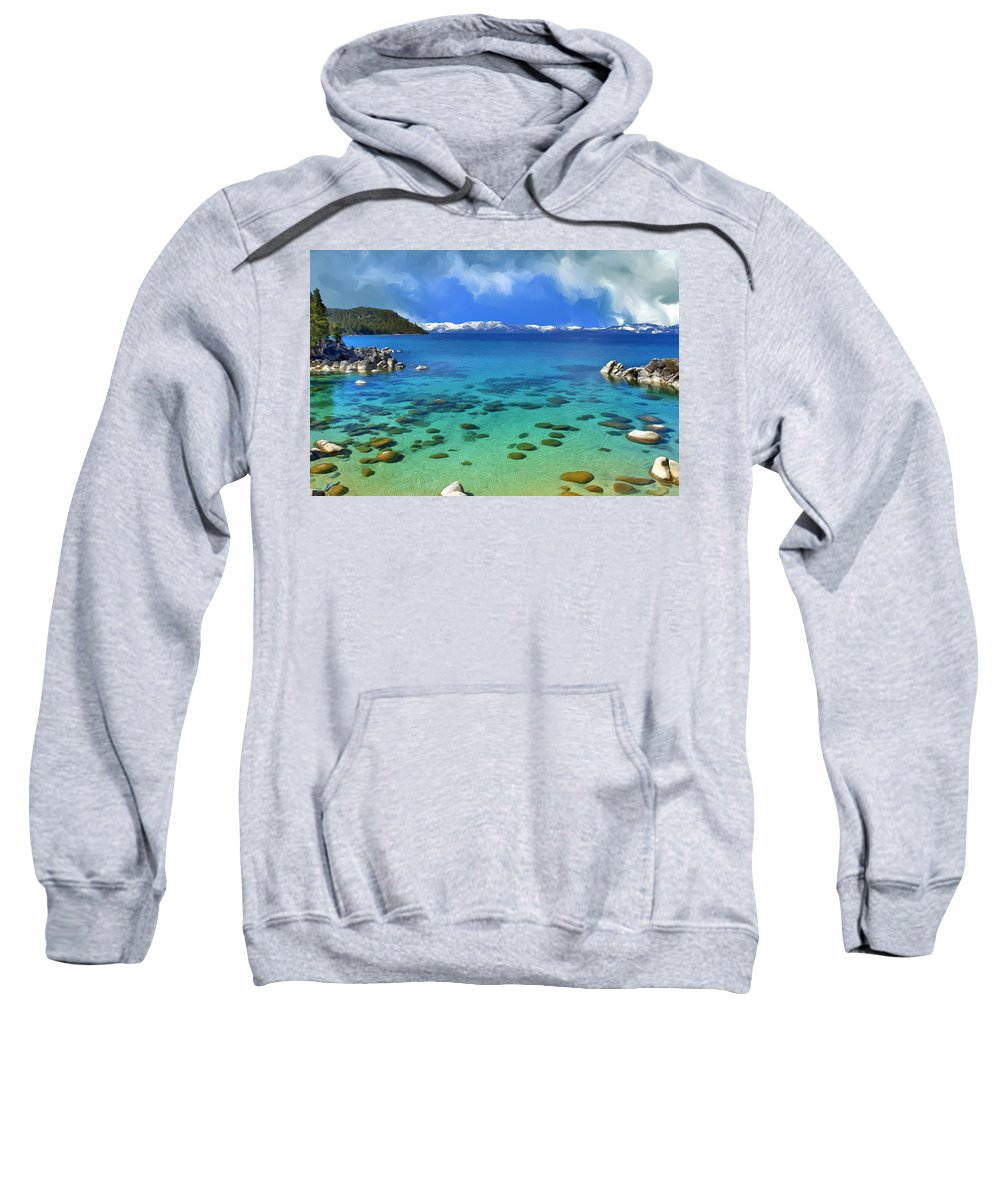 Lake Tahoe Sweatshirt featuring the painting Lake Tahoe Cove by Dominic Piperata