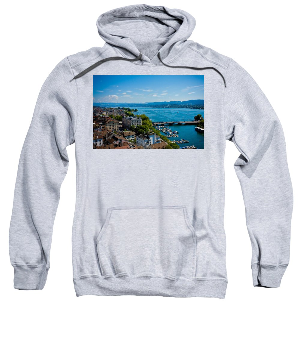 Switzerland Sweatshirt featuring the photograph Lake Zurich by Anthony Doudt