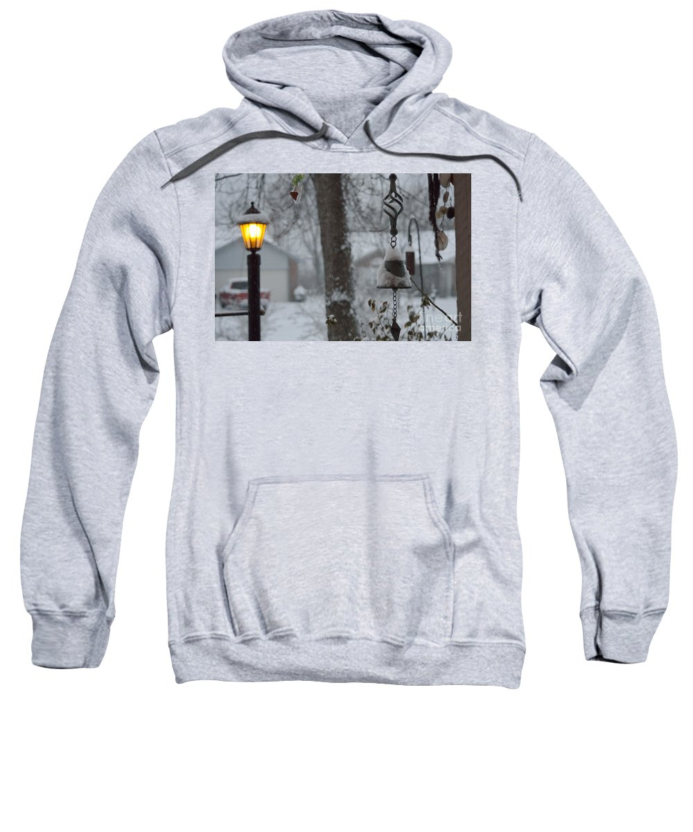 Winter Sweatshirt featuring the photograph Lamplight At Dawn by Alys Caviness-Gober
