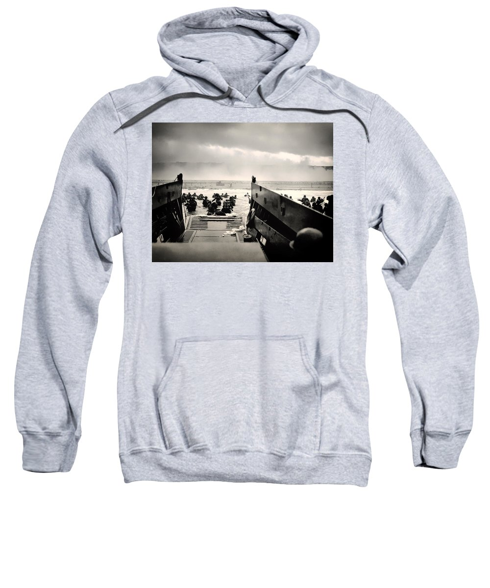 Normandy Sweatshirt featuring the photograph Landing At Normandy On D-day by Mountain Dreams