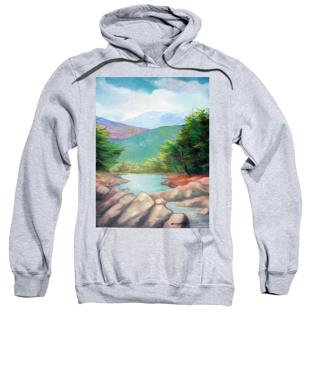 Bayou Sweatshirt featuring the painting Landscape With A Creek by Sergey Bezhinets