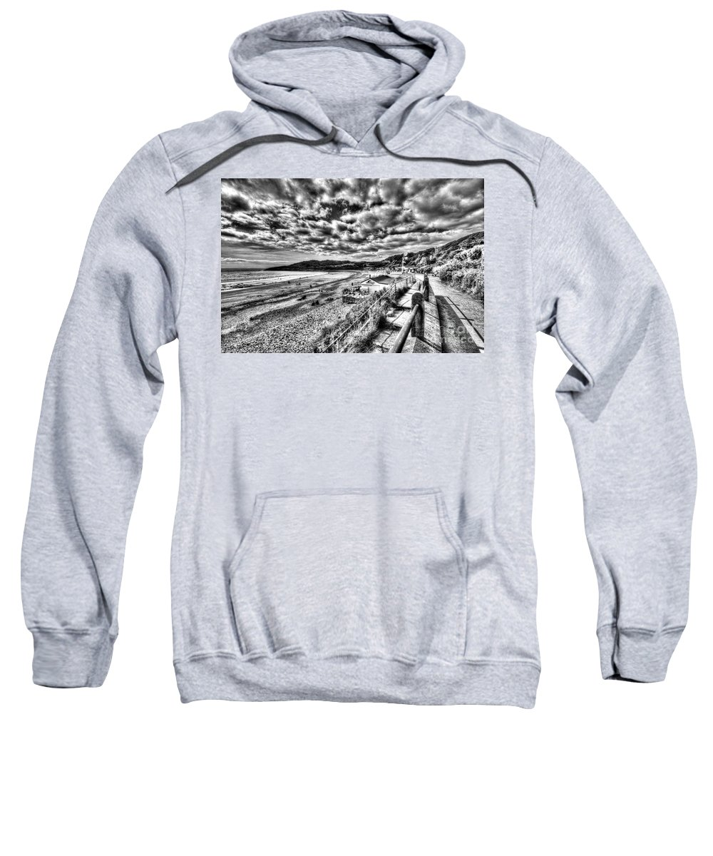 Langland Bay Beach Huts Sweatshirt featuring the photograph Langland Bay Mono by Steve Purnell