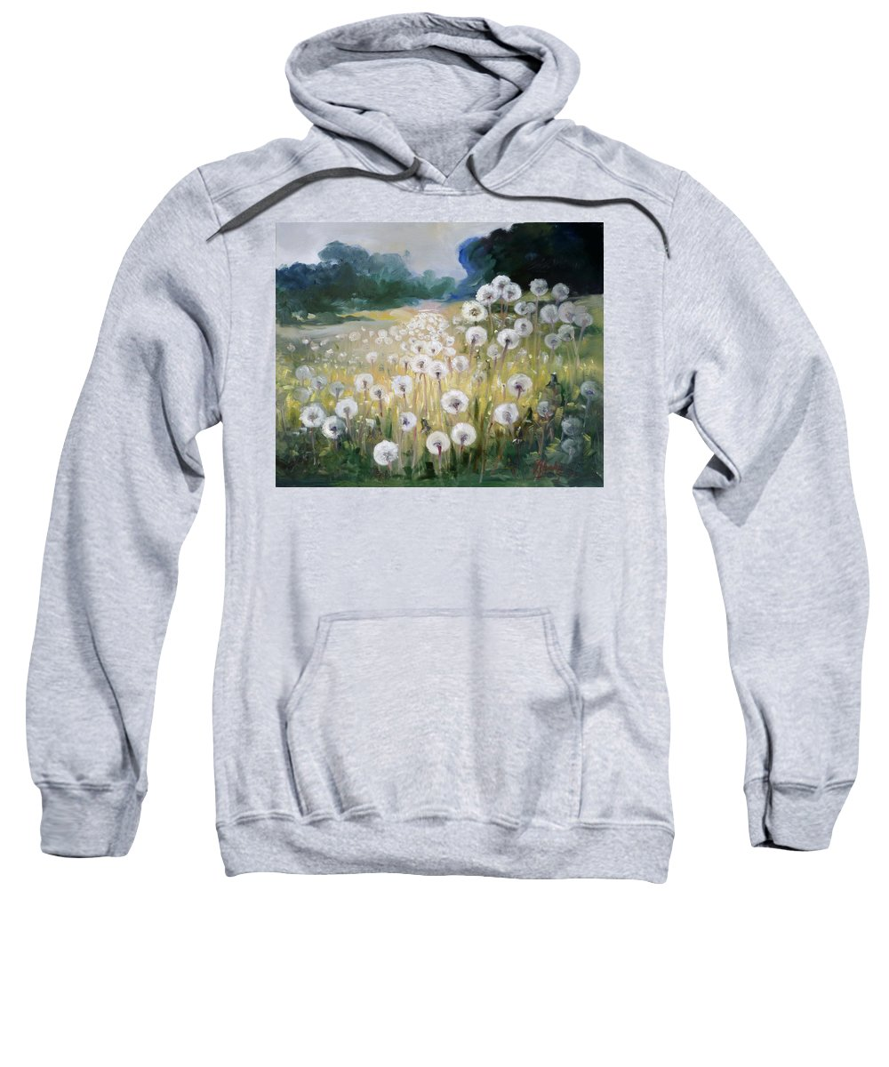 Dandelion Sweatshirt featuring the painting Lanscape With Blow-balls by Irek Szelag