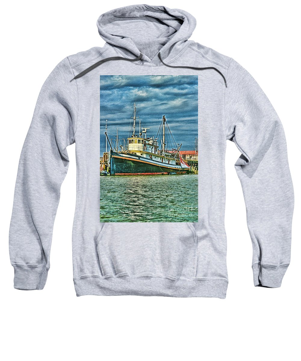 Boats Sweatshirt featuring the photograph Large Fishing Boat Hdr by Randy Harris