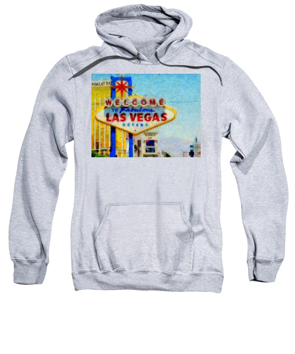 Las Vegas Sign Sweatshirt featuring the painting Las Vegas Sign by Dan Sproul