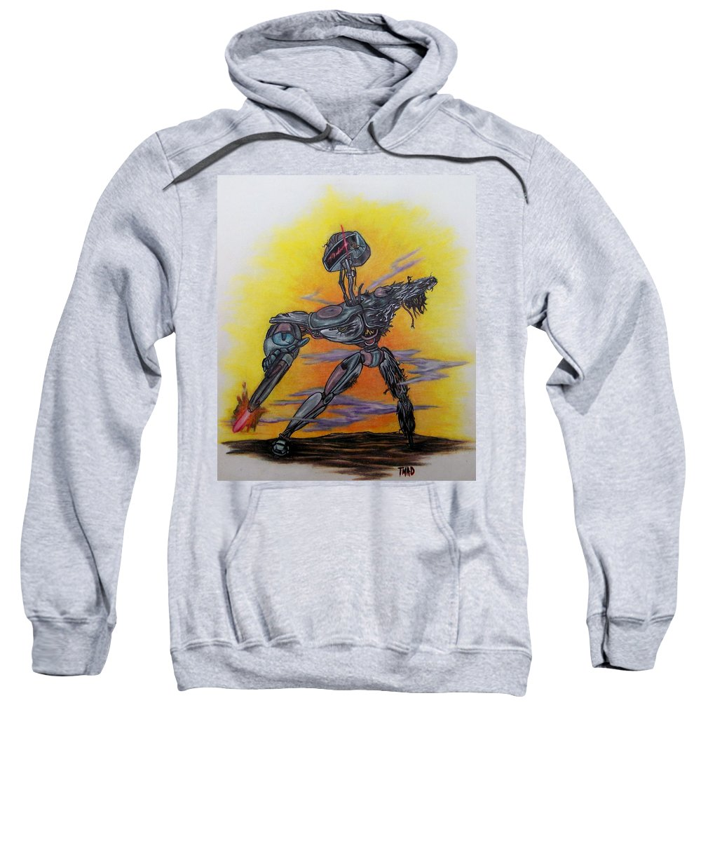 Michael Sweatshirt featuring the drawing Last Resort by Michael TMAD Finney