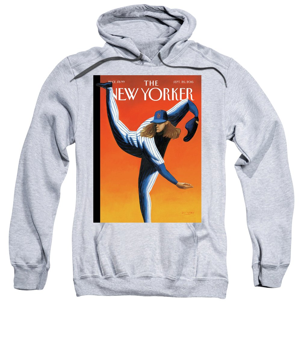 Mets Sweatshirt featuring the painting Late Innings by Mark Ulriksen