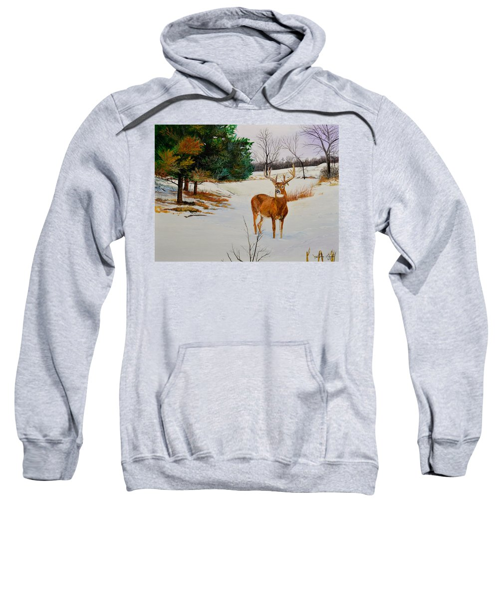 Nature Sweatshirt featuring the painting Late Season -droopy Ear by Alvin Hepler
