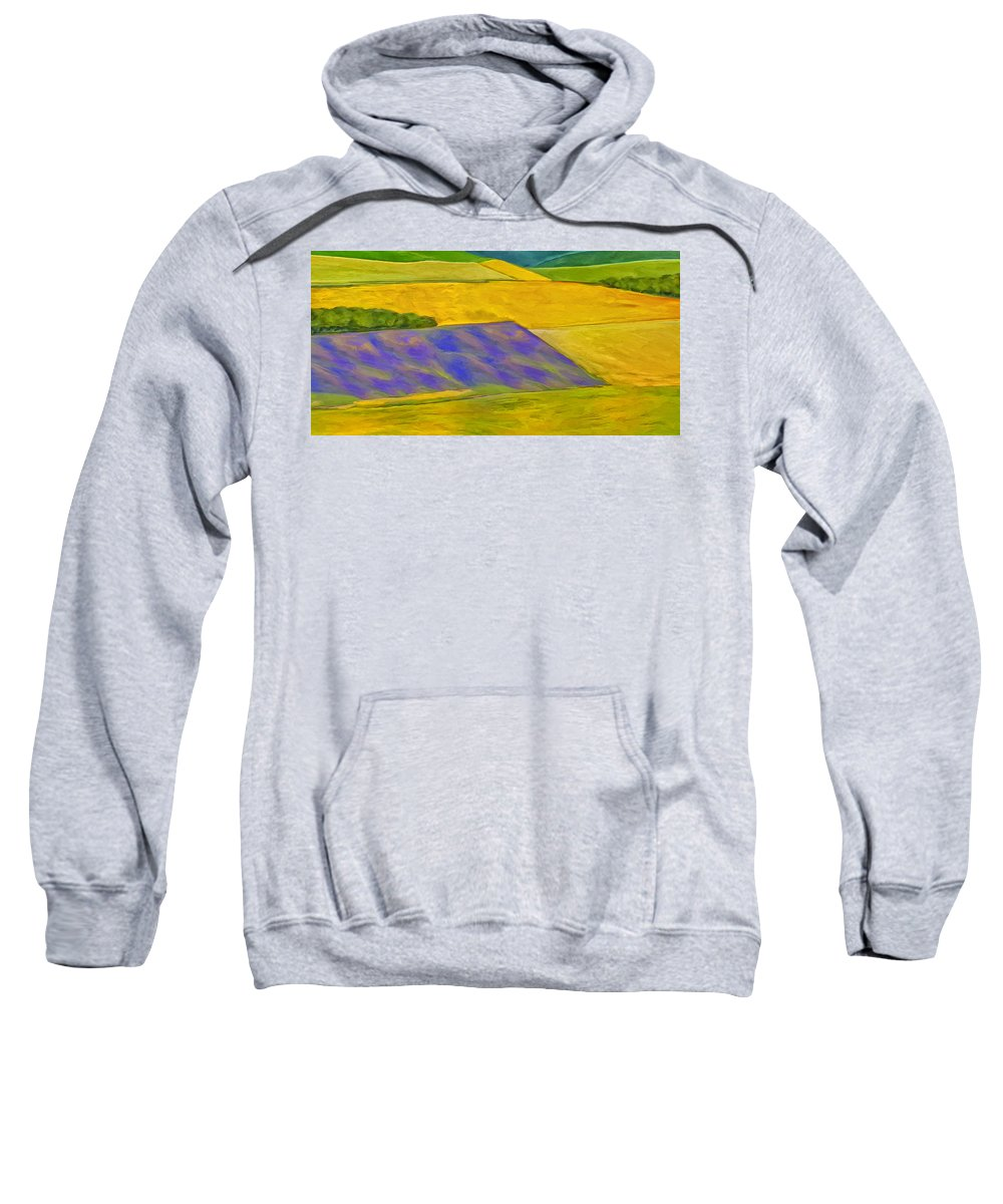 Lavender Field Sweatshirt featuring the painting Lavender Field by Dominic Piperata